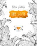 Save the date template with linear calla flowers. Royalty Free Stock Images