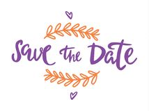 Save the date lettering illustration on white background. Save the date text calligraphy vector lettering for wedding or love card stock illustration