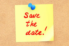 Save The Date text on a sticky note. 3D rendering Royalty Free Stock Image