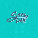 Save the Date Texts on Blue Green Background Royalty Free Stock Image