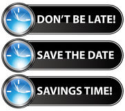Save The Date Time Button Stock Photos