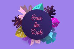 Save the date with 2018 trend colors leaves in purple background. EPS 10. vector illustration. stock illustration