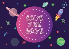 Save the date with 2018 trend colors in spcace composion background.Eps 10.vector illustration stock illustration