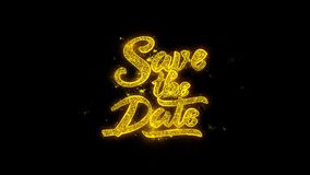 Save the Date Typography Written with Golden Particles Sparks Fireworks 1
