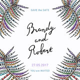 Save the Date vector card with lettering and delicate floral detail. vector illustration
