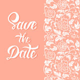 Save the Date vector card template with handdrawn unique typography Royalty Free Stock Photo