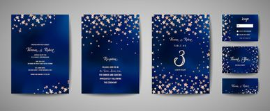 Save the date vector illustration with night starry sky, wedding party star celestial. In vector royalty free illustration