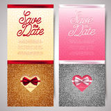 Save the date vector invitation cards with bow and glitter, marriage, wedding Royalty Free Stock Image