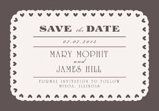 Save the Date with vintage background artwork. Ornate damask background. Wedding print template Royalty Free Stock Images