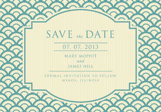 Save the Date with vintage background artwork. Wedding invitations and announcements in retro style Royalty Free Stock Photo