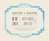 Save the date with watercolor frame. Retro stile hand drawn ornament. Vector illustration Stock Images