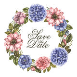 Save the date watercolor greeting card with peony roses flowers. Round floral wreath. Vector vintage illustration. Royalty Free Stock Photos
