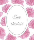 Save the date watercolor pink roses Stock Photo