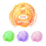 Save The Date Watercolor Set Stock Photos