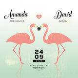 Save the date. Wedding announcement. Flamingo love at the sea Stock Images