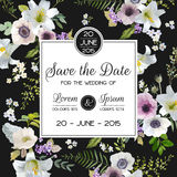 Save the Date Wedding Card. Lily and Anemone Flowers. Save the Date Wedding Card.  Lily and Anemone Flowers. Vector Floral Frame Royalty Free Stock Image