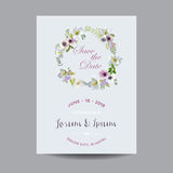 Save the Date Wedding Card.  Lily and Anemone Flowers Stock Photography