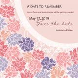 Save the date wedding card template with modern elegant floral pattern on a subtle vintage gaden fence background vector illustration