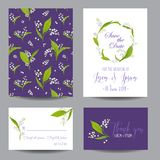 Save the Date Wedding Cards Set with Blossom Lily Flowers. Birthday Invitation, Anniversary Party, RSVP Floral Template. Vector illustration Royalty Free Stock Photography