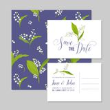 Save the Date Wedding Cards Set with Blossom Lily Flowers. Birthday Invitation, Anniversary Party, RSVP Floral Template. Vector illustration Royalty Free Stock Image