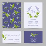 Save the Date Wedding Cards Set with Blossom Lily Flowers. Birthday Invitation, Anniversary Party, RSVP Floral Template. Vector illustration Stock Photo