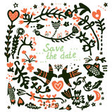 Save the date wedding floral card Stock Photo