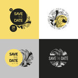 Save the date - wedding graphic set in baroque style. Vector Royalty Free Stock Image