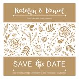 Save the Date. Wedding invitation calligraphy floral card with c vector illustration