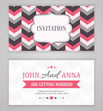 Save The Date, Wedding Invitation Card. Wedding invitation card back and front, vector illustration Royalty Free Stock Photo
