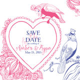 Save the Date. Wedding invitation card with bird and floral heart Stock Photography