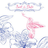 Save the date. Wedding invitation card with birds and floral heart. Royalty Free Stock Images