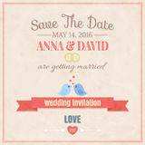 Save The Date, Wedding Invitation Card. Cute wedding invitation card , vector illustration Royalty Free Stock Images