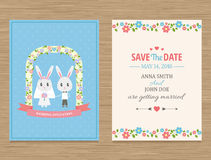 Save The Date, Wedding Invitation Card. Cute wedding invitation card , vector illustration Royalty Free Stock Photography
