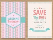 Save The Date, Wedding Invitation Card. Cute wedding invitation card , vector illustration Stock Photo
