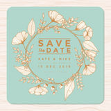 Save the date, wedding invitation card with flower wreath background template in golden color. Flower floral background. royalty free illustration