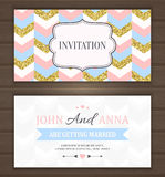 Save The Date, Wedding Invitation Card. Wedding invitation card with gold glitter chevron background, back and front. Vector illustration Royalty Free Stock Photo