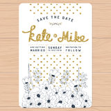 Save the date, wedding invitation card with hand drawn flower floral and golden glitter decoration. Flower floral background. Stock Photography