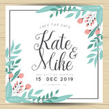 Save the date, wedding invitation card with hand drawn wreath flower template. Flower floral background. Save the date, wedding invitation card with hand drawn stock illustration