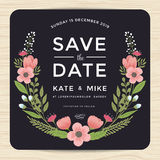Save the date, wedding invitation card with hand drawn wreath flower template. Flower floral background. Stock Image