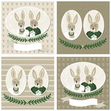 Rabbit portraits wedding card set Royalty Free Stock Photos