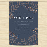 Save the date, wedding invitation card template with copper color flower floral background. vector illustration