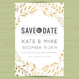 Save the date, wedding invitation card template with golden flower floral background. stock illustration