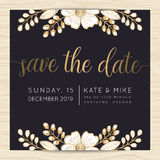 Save the date, wedding invitation card template with golden flower floral background. Royalty Free Stock Photo