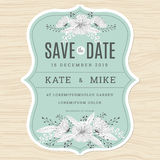 Save the date, wedding invitation card template with hand drawn flower floral background in green mint color. Stock Images