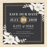 Save the date, wedding invitation card template with hand drawn flower floral background. Vintage style. Royalty Free Stock Images