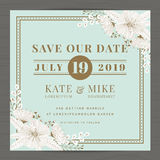 Save the date, wedding invitation card template with hand drawn flower floral background. Vintage style. Royalty Free Stock Photos