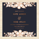 Save the date, wedding invitation card template with hand drawn flower wreath in copper color. Minimal design. Royalty Free Stock Image