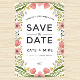 Save the date, wedding invitation card template with hand drawn wreath flower vintage style. Flower floral background. Save the date, wedding invitation card Stock Image