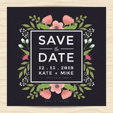 Save the date, wedding invitation card template with hand drawn wreath flower vintage style. Flower floral background. Save the date, wedding invitation card stock illustration