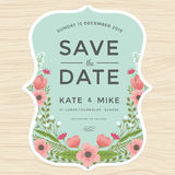 Save the date, wedding invitation card template with hand drawn wreath flower vintage style. Flower floral background. vector illustration